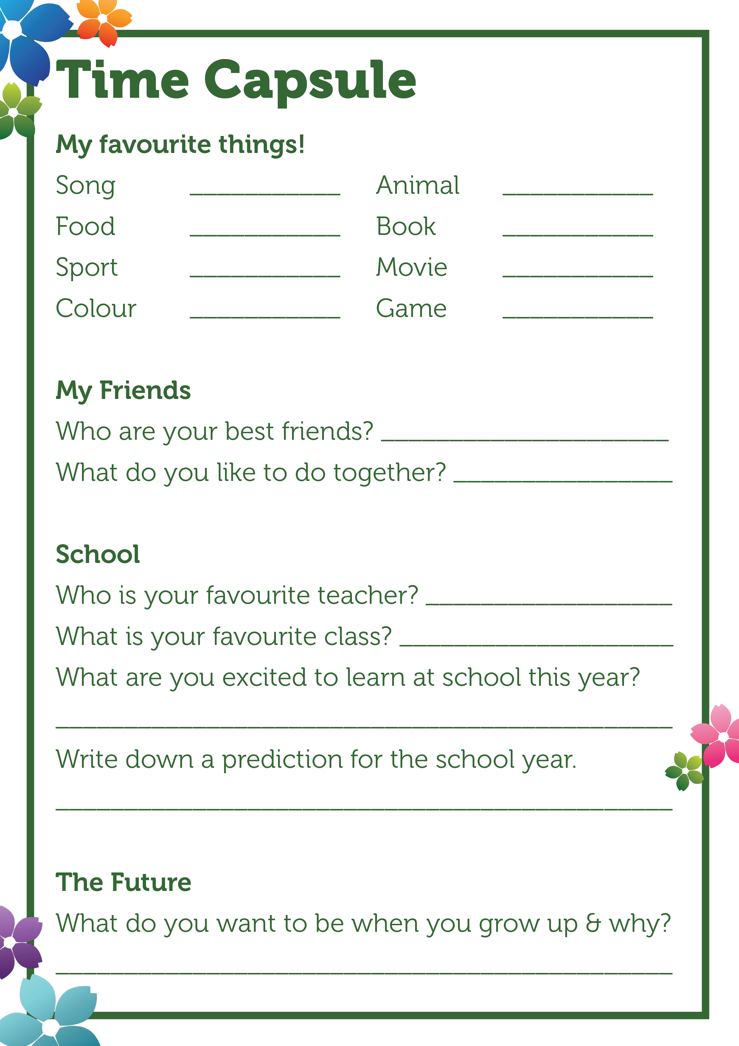 Back to school time capsule activity