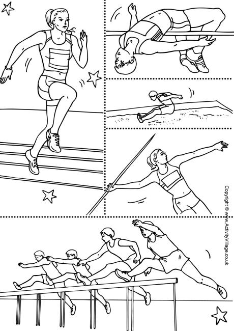 Sports themed colouring worksheet.