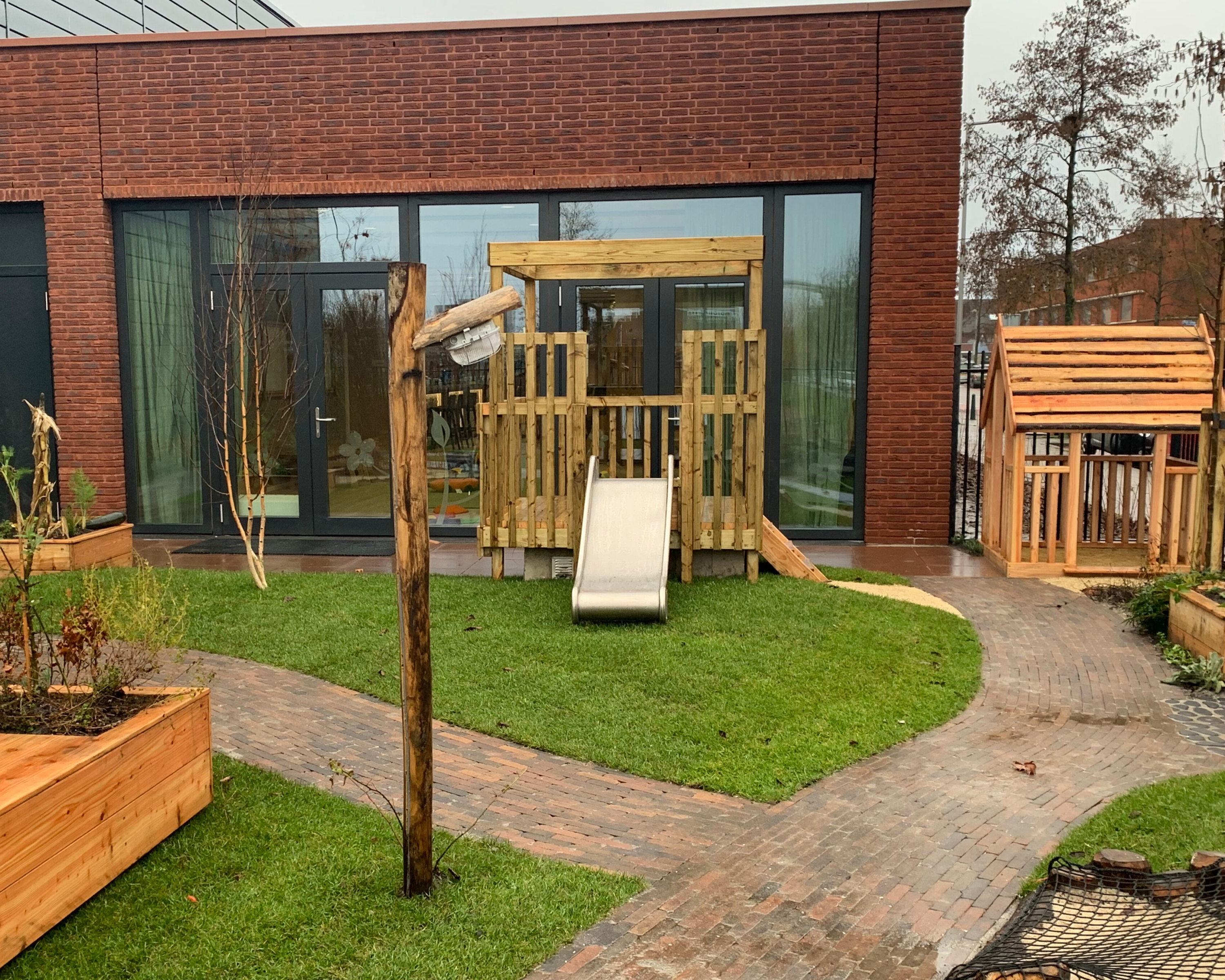 Landscaped garden for day care play and learning.